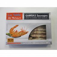 La Table des Pêcheurs Crevettes entières crues sauvages 16/24 pièces 400g