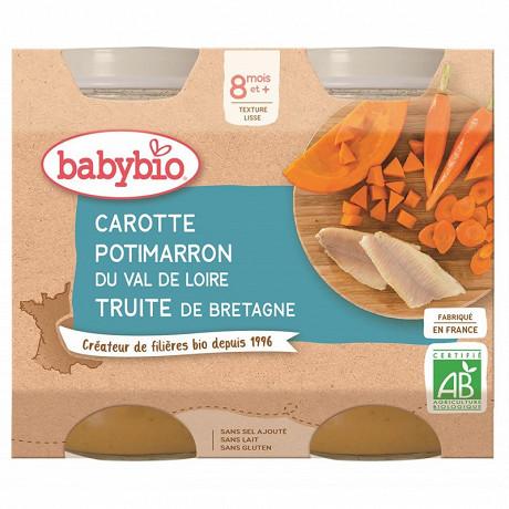 Babybio menu legumes carotte patimarron truite dès 8 mois 2x200g