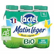 Matin Léger de Lactel lait uht bio écrémé bouteille 6x1l