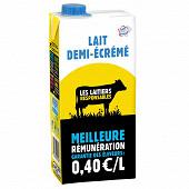Candia les laitiers responsables 1/2 écrémé brique 1l