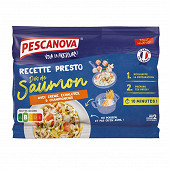 Pescanova recette presto dés de saumon crème échalotes champignons 350g