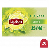 Lipton thé vert citron bio 20 sachets 26g
