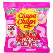 Chupa chups love fraise sachet de 192g-16 sucettes