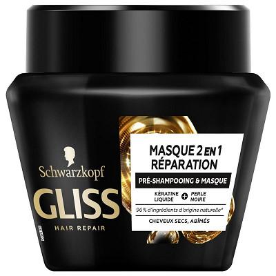 Schwarzkopf Gliss soins avec rincage - masque 2en1 reparation couleur pot 300ml