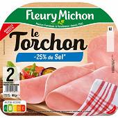 Fleury Michon jambon le torchon cuit -25%sel 2 tranches 80g