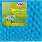 Cora serviettes x50 bleu turquoise 20x20cm