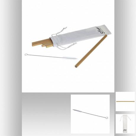 Lot 6 pailles bambou et goupillon dans petit sac de rangement