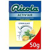 Ricola activ'air citron glace sans sucre boîte 50g