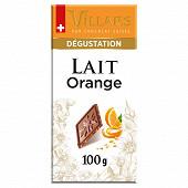 Villars tablette chocolat au lait orange 100g