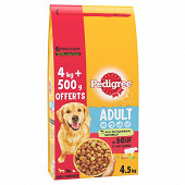 Pedigree croquettes au boeuf pour chien adulte 4kg + 500g