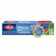 Albal sacs congélation x15 ultra zip moyen modèle 3l