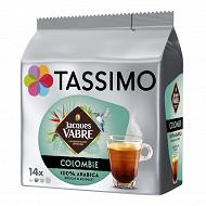 Tassimo jacques vabres colombia café en dosettes x14 - 97g