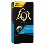 L'or espresso decaffeinato capsules x10 52g