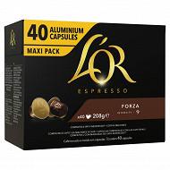 L'or cafe capsules type nespresso espresso forza x40 208g
