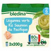 Bledina pots de légumes verts riz saumon du pacifique 2x200g