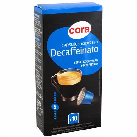 Cora capsules espresso décaféiné par 10 - 52g