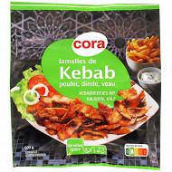 Cora lamelle de kebab poulet dinde veau rôties 600g