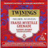 Twinings infusion ayurveda fraise myrtille grenade x20 -30g