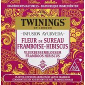 Twinings infusion ayurveda fleur de sureau framboise hibuscusx20 36g