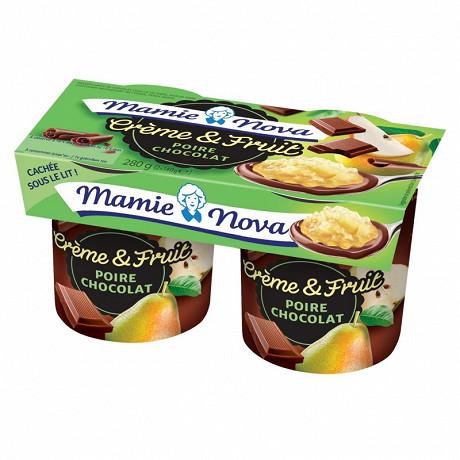 Mamie Nova dessert lacté crème et fruits poire chocolat 2x140g