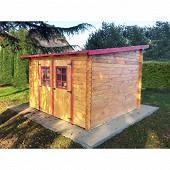 Abri madriers bois massif 28mm surface extérieure : 9.94 m2