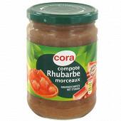 Cora compote de rhubarbe morceaux allégée en sucres 580g