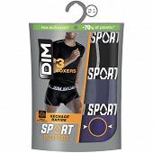 Lot de 3 boxers ligne Microfibre Sport Dim GRIS GRANIT/NOIR T6