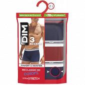 Lot de 3 boxers dealy colors Dim 8WC BLEU/ROUGE/BLEU T6