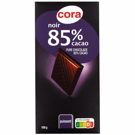 Cora chocolat noir 85% de cacao 100g