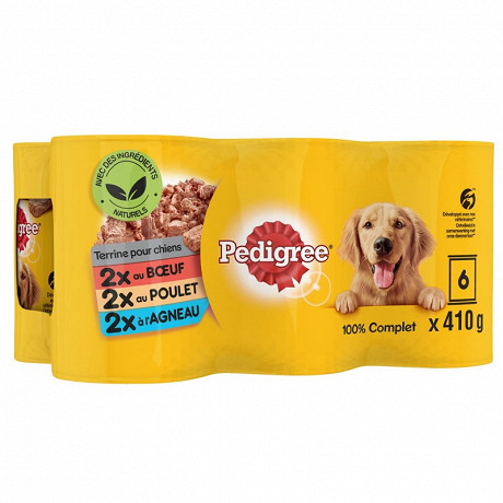 Pedigree boîtes pour chien en terrine au boeuf agneau et poulet 6x410g