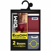 Lot de 2  boxers ligne Ecodim colors Dim 9MA ROUGE CAMELIA/GRIS S T2