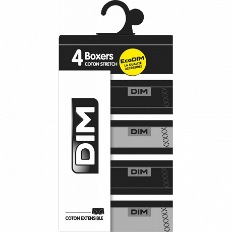 Lot de 4 boxers ligne Ecodim Dim NOIR/GRIS/NOIR/GRIS T6