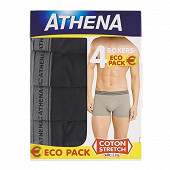 Lot de 4 boxers Basic coton Athena 2130 NOIR X4 (PE21 2130) T6