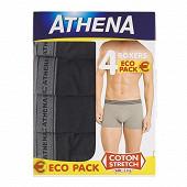 Lot de 4 boxers Basic coton Athena 2130 NOIR X4 (PE21 2130) T4