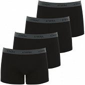 Lot de 4 boxers Basic coton Athena 2130 NOIR X4 (PE21 2130) T2