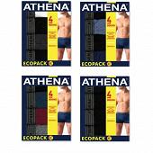 Lot de 4 boxers Basic coton Athena 2100NOIR/ANTHRA/GRIS CHIN/BLC T8