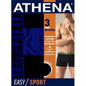 Lot de 3 boxers Easy Sport Athena 2120 BLEU/GRIS/NOIR T7