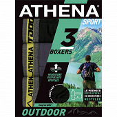 Lot de 3 boxers Outdoor Athena 2100 N/GRI/N/C.CHIN JAUNE T2