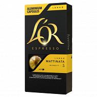 L'or espresso lungo mattinata capsules x10 52g