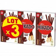 Mikado chocolat noir lot 3x90g