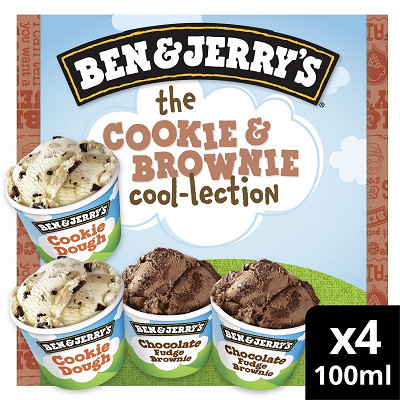 Ben & Jerry's Ben & Jerry's glace mini pots the cookie & brownie cool-lection 4x100ml - 288g