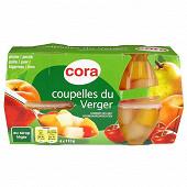 Cora coupelles de fruits du verger 4x65g net egoutté