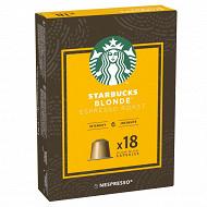 Starbucks by Nespresso - Blonde Espresso Roast, capsule café x18