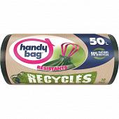 Handy bag sacs poubelle x10 poignées coulissantes recyclés 50l