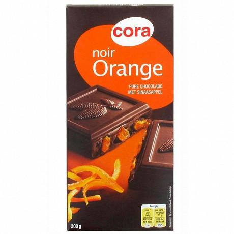 Cora chocolat noir aux écorces d'oranges confites 200g