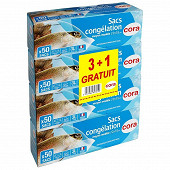 Cora sacs congélation x50 à soufflet moyen modèle 3 + 1 offert