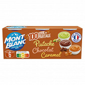 Mont Blanc crème dessert multi variétés chocolat caramel pistache 6x125g