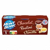 Mont Blanc crème dessert multivariétés chocolat/vanille/praliné 6x125g