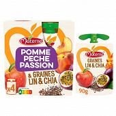 Materne ssa pomme pêche passion céréales & graines 4x90g