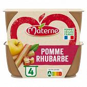 Materne coupelles pomme rhubarbe allegée en sucre 4x100g